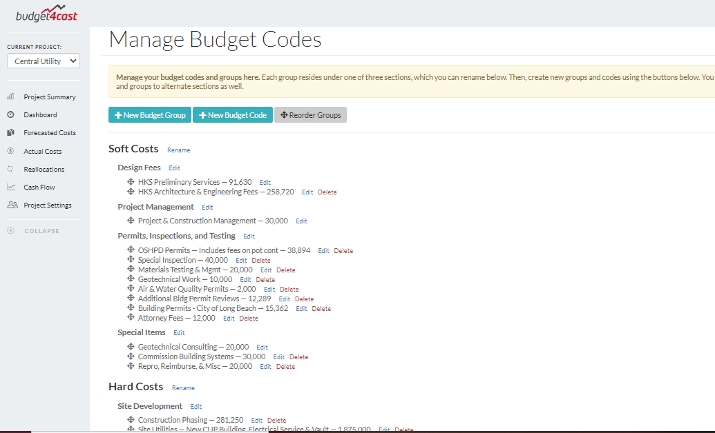Budget Code setup tab in free construction project budget app