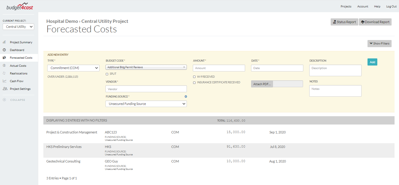 Forecasted costs in budget4cast's free construction project budget management app