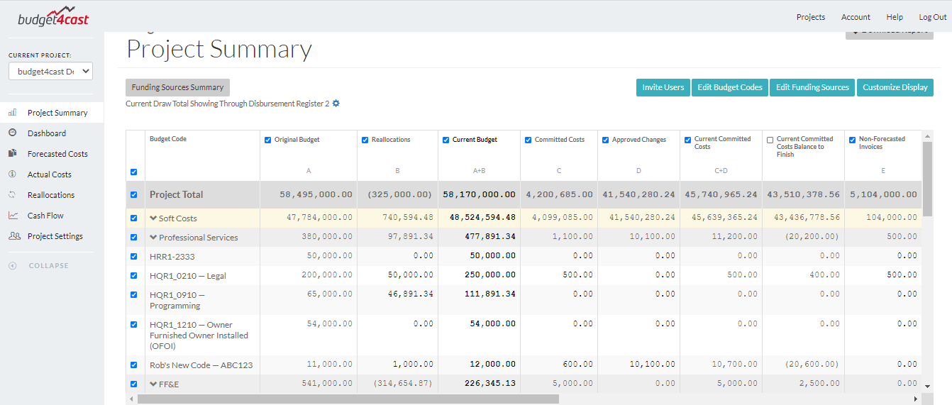 Project Summary screen in budget4cast's free construction project budget software